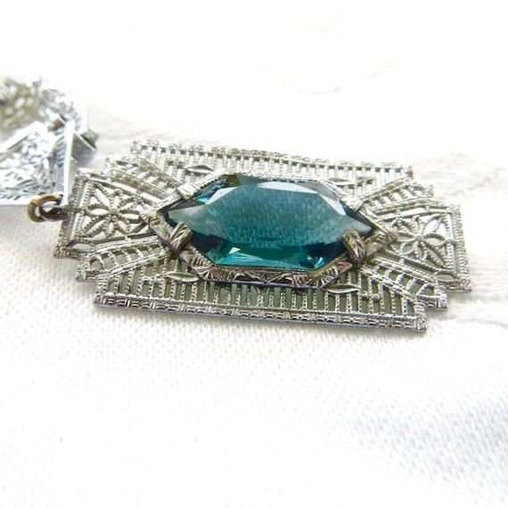Antique Art Deco Filigree Necklace, Aquamarine Stone, Vintage Wedding Necklace, Something Blue