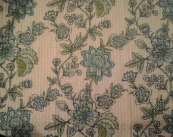 Double kitchen towel extra wide waffle material teal flowers green leaves crocheted teal top Pattern one way