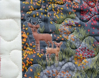 Hedgehogs and Deer Quilt with Plush Hedgehog Friend // Fall Colors Quilt // Autumn Quilt // Fawn Quilt // Hedgehog Quilt