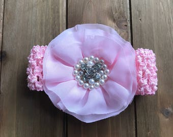 Pink Crochet Headband with Pink Bling Flower