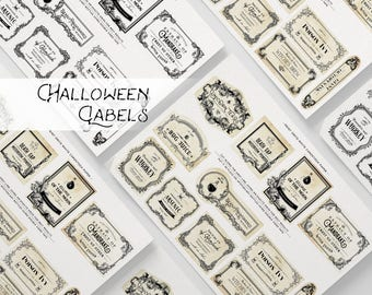 Handdrawn Witch Apothecary Labels, Magic Potion Labels, Halloween Labels, Apothecary Jar Labels, Poison Labels, Collage Sheet