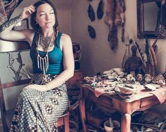 Leather Fringe Charm Tribal Boho Treasure Necklace