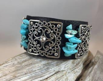 Square filigree leather cuff