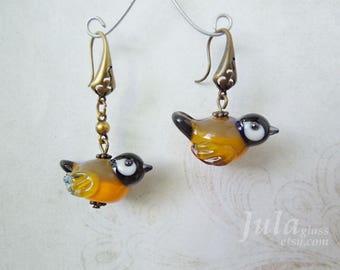 Bird Earrings, Lampwork birds, Tit birds,  Bird bead, Glass bird