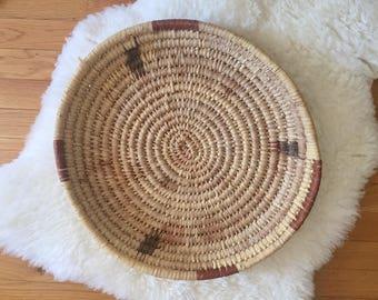 Vintage Native American Basket Bowl Platter Woven Basket Papago Tribe Basket Southwestern Decor Coffee Table Tray or Wall Basket Display