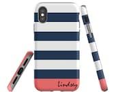 iPhone 8 Case, Monogram, iPhone 7 Case, iPhone X Case, iPhone 8 Plus, Galaxy S8 Plus Case, Samsung Galaxy, Navy Blue Stripes, iPhone 7 Plus