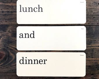 lunch and dinner • vintage flash card trio • Dick and Jane flashcards • Allyn and Bacon word cards | kitchen decor