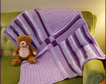 Patchwork Medley Baby Blanket Handmade Crocheted Purple Ready to Ship