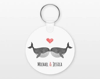 Whale Keychain, Couple Keychain Personalized Keychain, Boyfriend Keychain Girlfriend Keychain, Couple Key Chain, Animal Keychain, Keyring