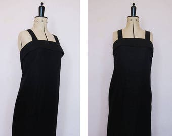 Vintage 1990s linen black minimalist dress - 90s little black dress - Linen pinafore dress - 90s linen overall dress - Linen dress - 1990s