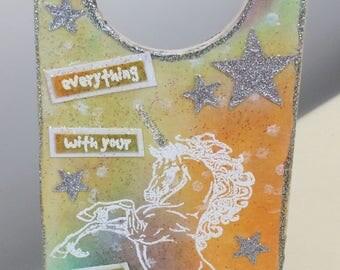 Hand crafted Unicorn mdf door hanger