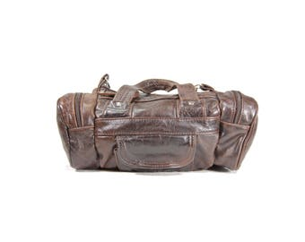 brown mini leather duffle bag brown leather shoulder bag h258