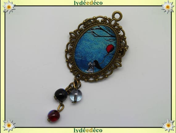 Brooch retro girl ball resin charm pendant red blue black brass bronze tone 18 x 25mm