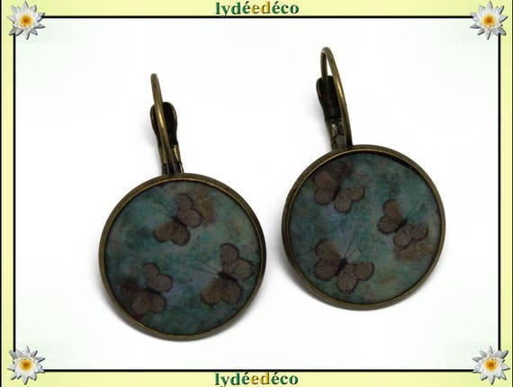 Sleeper earrings retro vintage green brown Butterfly resin brass Locket 20mm round