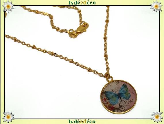 Necklace Golden brass gold 24 carat 24 k blue pastel pink butterfly resin