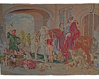 "Large 63""x45"" Tapestry / Wall Hanging English Hunt Scene after Sir Edwin Landseer- c. 19th Century, France"