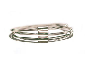 Guitar String Bangles | Set of 3 | Silver toned Jewellery | Stacking Bracelets