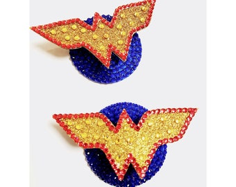 Wonder Woman, Pasties, Super Hero, Burlesque, Nipple Tassels, MADE TO ORDER, Nipple Covers, Valentine's Day, Dancer