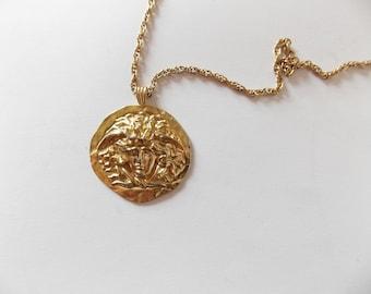 Vintage Sphinx Medusa Face Pendant Necklace Gold Tone Greco Roman Mythology Costume Jewelry