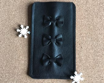 Black leather iPhone Case iPhone sleeve with Bow Detail