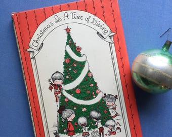 Christmas is a Time Of Giving, Joan Walsh Angland, Tiny Gift Book, 1961 First Edition, Gift Book, Display Read Aloud Christmas Photo Prop