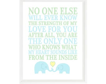 No One Else Will Ever Know The Strength Of My Love Quote, Baby Boy Nursery Wall Art, Elephant Nursery, Blue Green Decor, Mother Son Art
