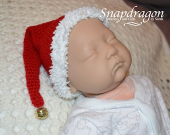 Newborn sized crochet Santa hat with a bell - ready to ship