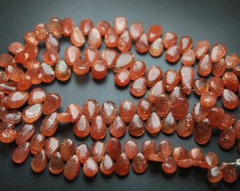 95 Carats,9 Inches Strand.Natural AFRICAN Sunstone Smooth Pear Shape Briolettes,8-9.5mm size,