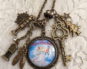 """Vintage Style,  Pendant Necklace. Featuring """"The Nutcracker"""".  Antique Bronze Tone."""
