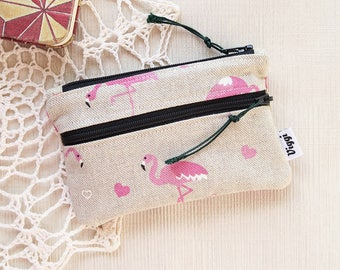 Small Woman Wallet, Flamingo Coin Purse, Pink Zipper Pouch, Tropical Travel