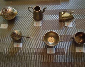 Vintage Dollhouse Miniatures.  English Brass Kitchen Utensils.  Sell Individually