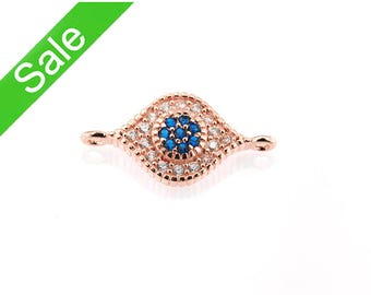 30% OFF,Rose Gold Pave Evil Eye Connector,CZ Micro Pave Bracelet Connector,Cubic Zirconia Pave on Copper,16x8mm, Pkg of 1 PCS, C0MM.RG04.P01