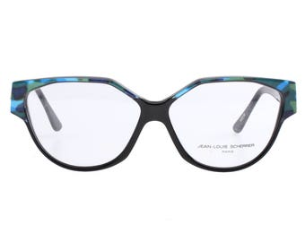Jean Louis Scherrer vintage oversized cateye eyeglasses, bicolour black with reflective blue/green camo details on brows and temples.