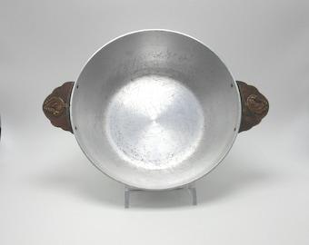 Kensington Aluminum Briar Bon Bon Dish circa mid 1930s - brass base trim and handles with dove & branch - Lurelle Guild
