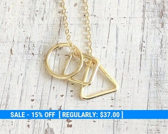 long necklace,layering necklace,gold triangle necklace,everyday necklace, long gold necklace, geometric necklace,gift for her -7009