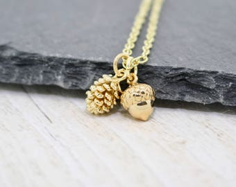 Gold Acorn Necklace, Gold Pine Cone Necklace, Delicate Gold Necklace, Gift for Her, Birthday Gift, Fall Gift, Friend Gift, Gift for Her