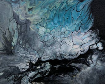 Original 2.5 Inch x 3.5 Inch Abstract Fluid Acrylic Painting ACEO