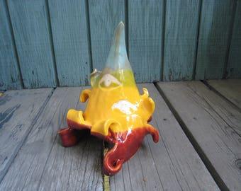 Ceramic Pet House - Aquarium Cave - Small Reptile Hide - Ceramic Tank Decoration - Reptile Enclosure - Orange Red and Turquoise - Surrealist