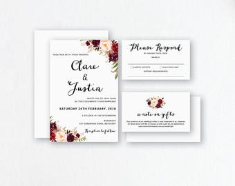 Burgundy Wedding Invitations. Burgundy Floral Invites. Burgundy Wedding Stationery