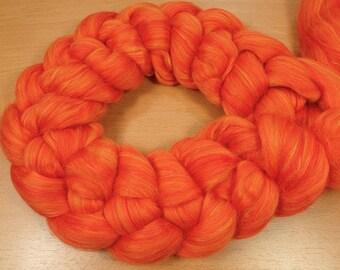 Tangerine Sunset - blended top in Merino and Silk