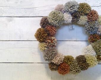 Pom-Pom Wreath | Indoor Wreath | Fall Wreath | Fall Pom-Pom Wreath | Wall Wreath | Yarn Wrapped Wreath
