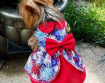 July 4th  Dog Dress, Dog Clothing, Dog Wedding Dress, Pet Clothing, Pet Clothing