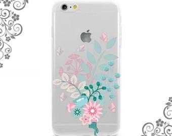 Wild Pastel color Flowers Soft Flexible iPhone Case Clear-White iPhone 7 case,7Plus Case Galaxy S6 Case, Note5 Case iPhone 6 plus case 0474