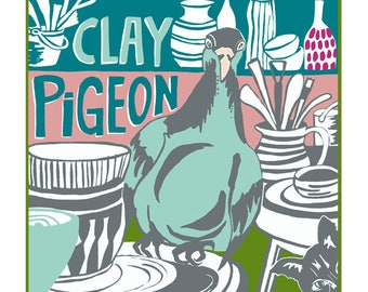 Clay pigeon greeting card by Tracy Evans