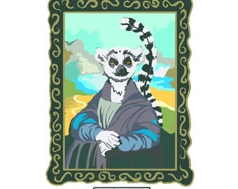 Mona Lemur Greeting card by Tracy Evans