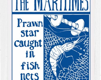 Prawn star caught in fishnets, art print, signed by the artist, mounted