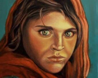 Afghan Girl Painting,Afghan Girl Wall Art,Afghan Girl Portrait,Afghan Girl Canvas Art,Afghan Girl Art Print,Afghani Green Eyes Oil Painting