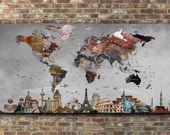 world mapworld map wall artworld map canvasworld map poster