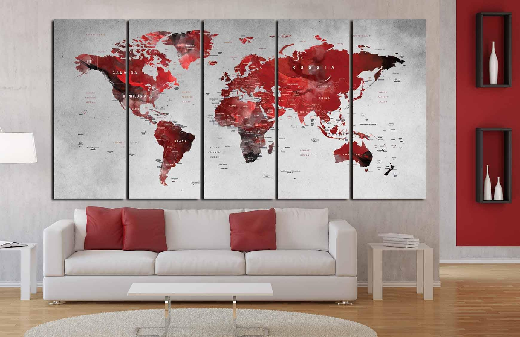 World map wall artworld map canvasworld map art printlarge world map wall artworld map canvasworld map art printlarge world mapworld map abstractred world map artworld map push pintravel map gumiabroncs Gallery