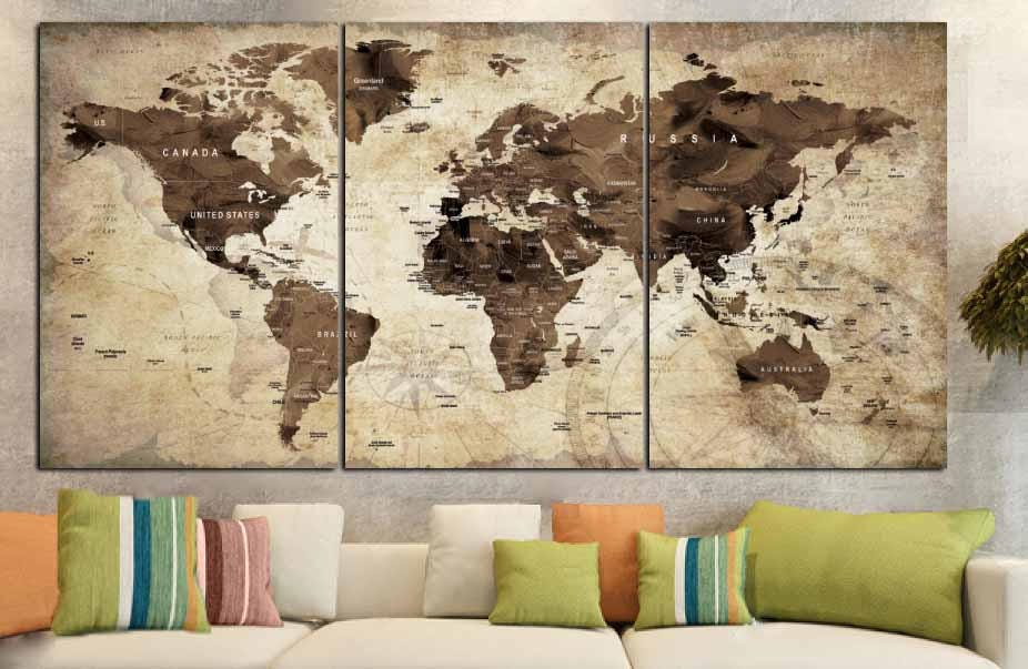 Old World Map Art. World Map Vintage Art Wall  Canvas Print Brown Old